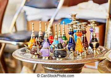 perfumes, marroquí, tradicional, selección, botella, mercado