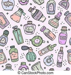 perfumes., oils., 準備, 香水, seamless, びん, ベクトル, pattern., 背景, 必要, ビーカー