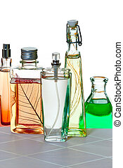 perfumes on the white background