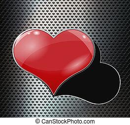 perfurado, coração, buraco, metal, fundo