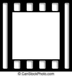perfurado, pretas, ainda, película, borda