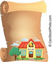 pergamen, s, škola, budova