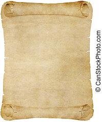 pergamena, carta, vecchio, rotolo, o
