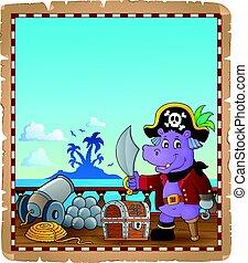 pergamena, con, pirata, ippopotamo, su, nave