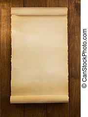 pergamena, rotolo, su, legno