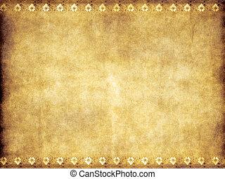 pergamena, vecchio, marrone, giallo, vendemmia