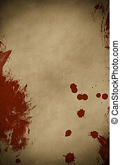 pergament, blut, spattered