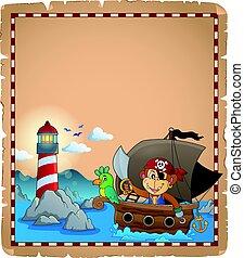 pergament, majom, csónakázik, kalóz
