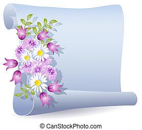 pergament, med, blomningen