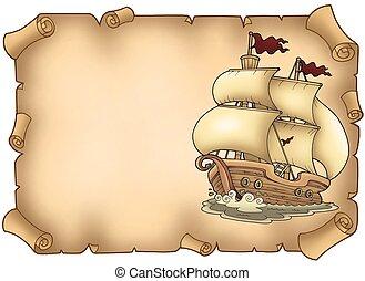pergament, med, gammal, segelbåt