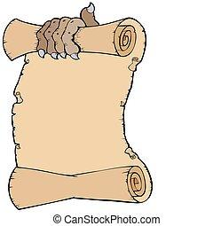 pergament, med, klo