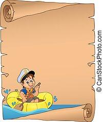 pergament, med, pojke, in, båt på vatten