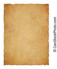 pergament, med, trasig, bryn