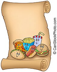 pergament, noha, különféle, karikatúra, étkezés