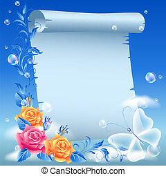 pergament, och, blomningen