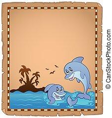 pergament, zwei, delphine