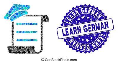 pergaminho, ícone, alemão, mosaico, conhecimento, aprender, angústia, selo