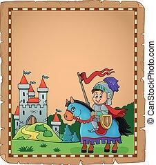 pergaminho, com, cavaleiro, ligado, cavalo, tema, 2
