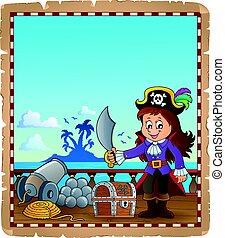 pergaminho, com, pirata, menina, ligado, navio