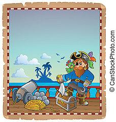 pergaminho, com, pirata, navio, convés, 1