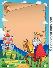 pergaminho, com, rei, ligado, cavalo, tema