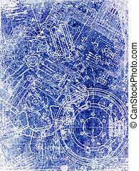 pergaminho, folha, com, blueprint