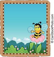 pergamino, con, feliz, abeja, tema, 2