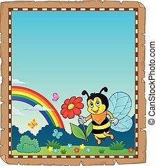 pergamino, con, feliz, abeja, tema, 3