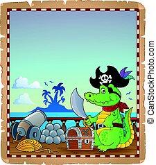 pergamino, con, pirata, cocodrilo, en, barco