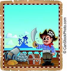 pergamino, con, pirata, niño, en, barco