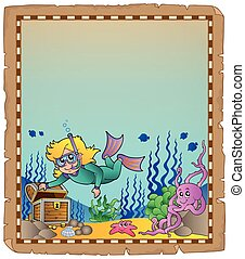 pergamino, con, submarino, tema, 2