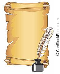 pergamino, rúbrica, y, pluma de remera