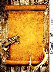 pergamino, viejo, rúbrica, dragón