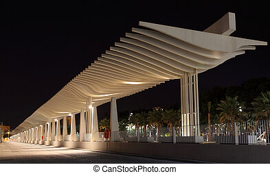 Pergola at Muelle Uno at night. Malaga, Andalusia Spain