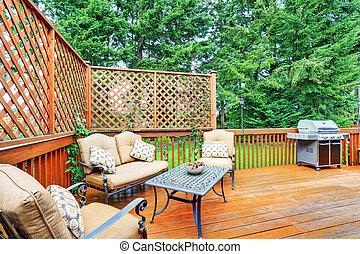 pergola., pont, bois, secteur, attaché, spacieux, patio