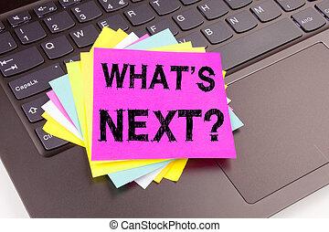 pergunta, é, logo, escrita, texto, feito, em, escritório, close-up, ligado, computador laptop, keyboard., conceito negócio, para, que, é, logo, self-development, melhoria, amor, ligado, a, experiência preta, com, espaço cópia