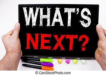 pergunta, é, logo, texto, escrito, ligado, tabuleta, computador, em, escritório, com, marcador, caneta, stationery., conceito negócio, para, pergunta, que, é, logo, self-development, melhoria, fundo branco, espaço cópia