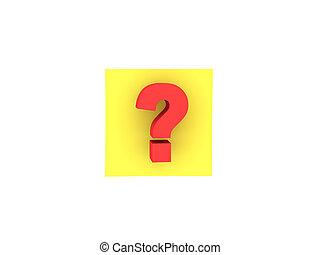 pergunta, aquilo, ilustração, nota pegajosa, marca amarela, 3d