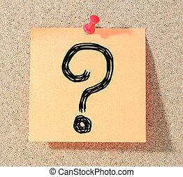 pergunta, bloco de notas, marca, attach.