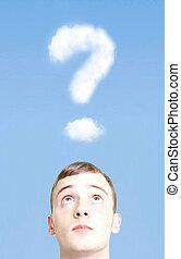 pergunta, céu, marca