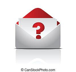 pergunta, envelope, ilustração