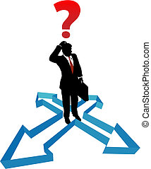 pergunta, homem negócios, indecisão, direção, setas