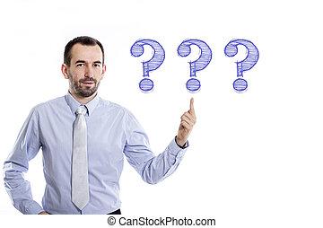 pergunta, -, homem negócios, pequeno, camisa, 3, azul, marcas, apontar, barba, cima, jovem