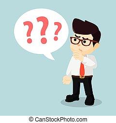 pergunta, homens negócios, marcas