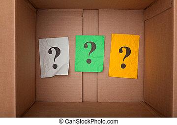 pergunta marca, interior, um, caixa papelão