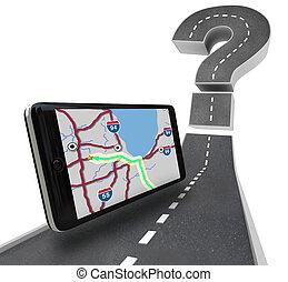 pergunta, -, marca, unidade, navegação, estrada, gps