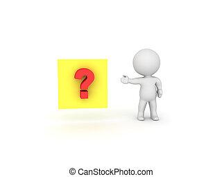pergunta, mostrando, personagem, nota pegajosa amarela, marca, vermelho, 3d