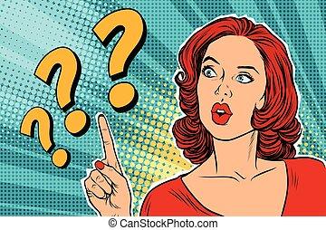 pergunta, mulher pensando, marca