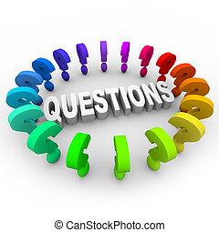 pergunta, palavra, ao redor, marcas