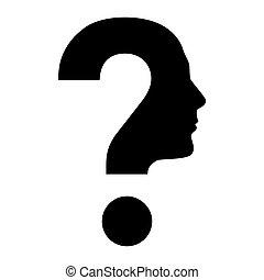 pergunta, rosto humano, marca